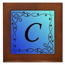 Blue Initial C Framed Tile