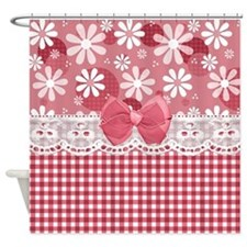 Pretty Pink Gingham Daisies Shower Curtain