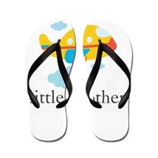 Little Brother Yellow Airplane Flip Flops