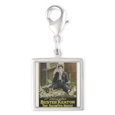 buster keaton Silver Square Charm