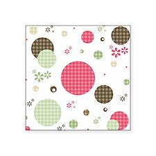 "Gingham Polka Dots Daisies Square Sticker 3"" x 3"""