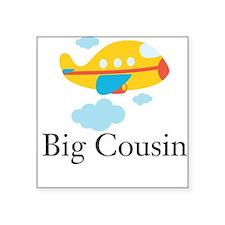 "Big Cousin Yellow Airplane Square Sticker 3"" x 3"""