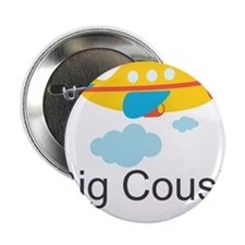 """Big Cousin Yellow Airplane 2.25"""" Button"""