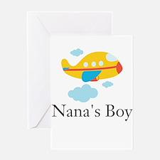 Nanas Boy Yellow Airplane Greeting Card