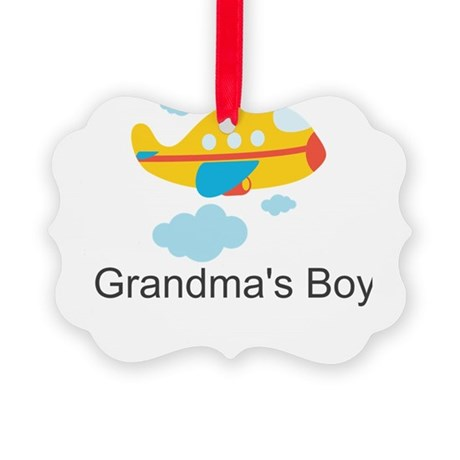 Grandmas Boy Yellow Airplane Picture Ornament