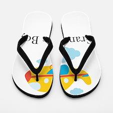 Grandmas Boy Yellow Airplane Flip Flops