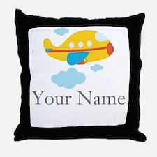Personalized Yellow Airplane Throw Pillow
