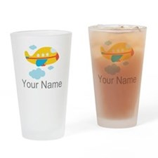 Personalized Yellow Airplane Drinking Glass