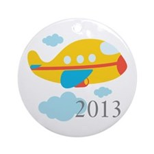 2013 First Yellow Airplane Ornament (Round)