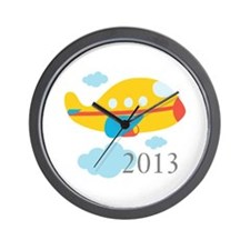 2013 First Yellow Airplane Wall Clock