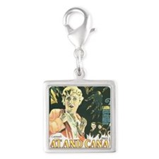 the cat and canary Silver Square Charm