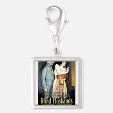 blind husband Silver Square Charm