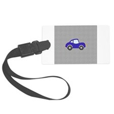 Blue Cartoon Car on Black Dots Luggage Tag