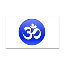 Om Blue Button Car Magnet 20 x 12