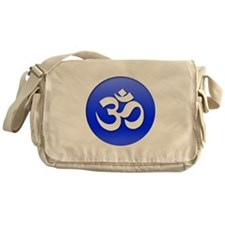 Om Blue Button Messenger Bag