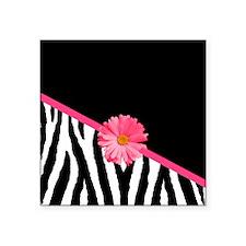 "Zebra Pattern Pink Daisy Square Sticker 3"" x 3"""