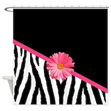 Zebra Pattern Pink Daisy Shower Curtain