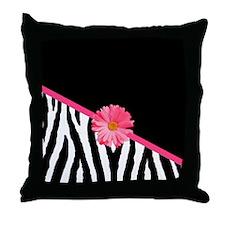 Zebra Pattern Pink Daisy Throw Pillow