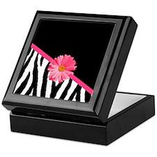 Zebra Pattern Pink Daisy Keepsake Box