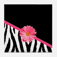 Zebra Pattern Pink Daisy Tile Coaster