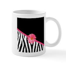 Zebra Pattern Pink Daisy Mug