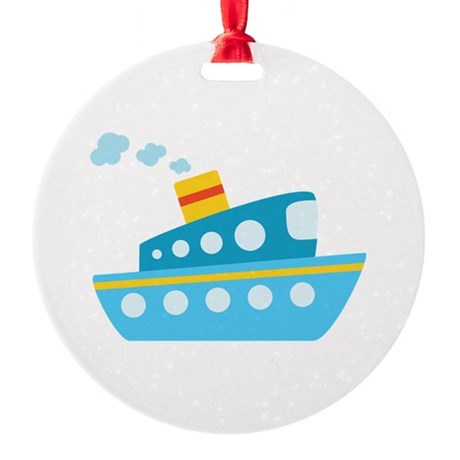 Blue Red and Yellow Tug Boat Round Ornament