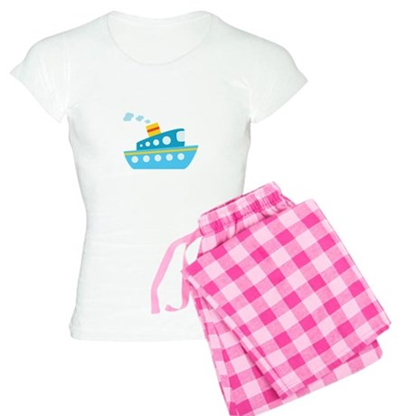 Blue Red and Yellow Tug Boat Women's Light Pajamas