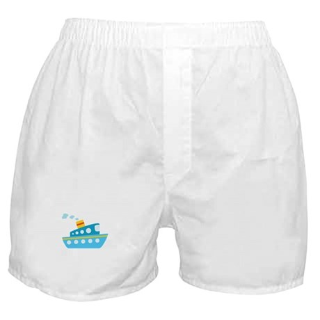 Blue Red and Yellow Tug Boat Boxer Shorts
