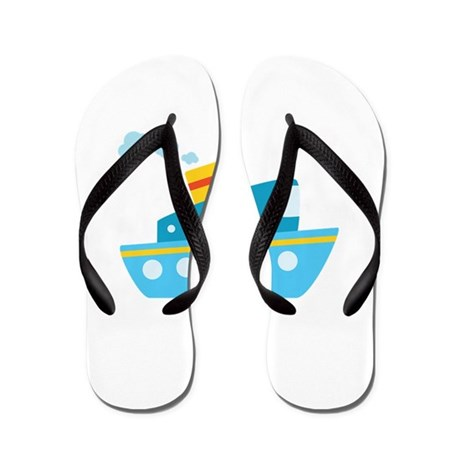 Blue Red and Yellow Tug Boat Flip Flops