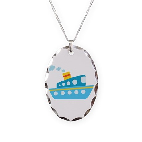 Blue Red and Yellow Tug Boat Necklace Oval Charm