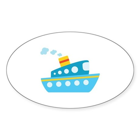 Blue Red and Yellow Tug Boat Sticker (Oval)
