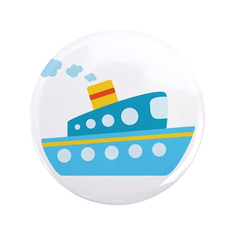 """Blue Red and Yellow Tug Boat 3.5"""" Button"""
