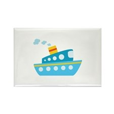 Blue Red and Yellow Tug Boat Rectangle Magnet