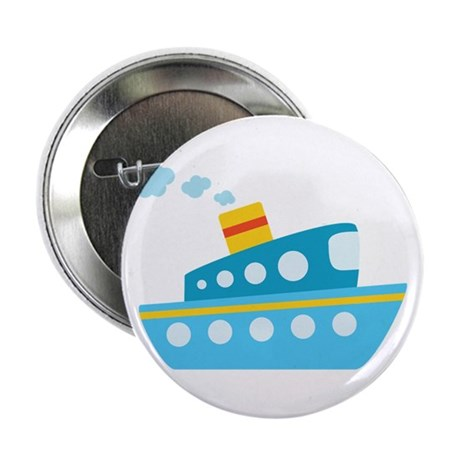"""Blue Red and Yellow Tug Boat 2.25"""" Button (100 pac"""