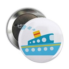 """Blue Red and Yellow Tug Boat 2.25"""" Button"""