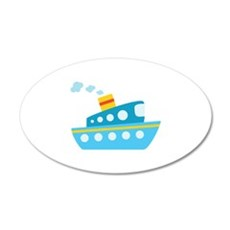 Blue Red and Yellow Tug Boat Wall Decal