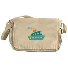 Blue Red and Yellow Tug Boat Messenger Bag