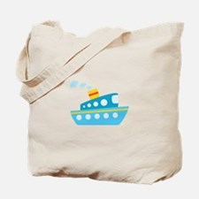 Blue Red and Yellow Tug Boat Tote Bag