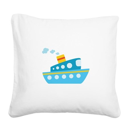 Blue Red and Yellow Tug Boat Square Canvas Pillow