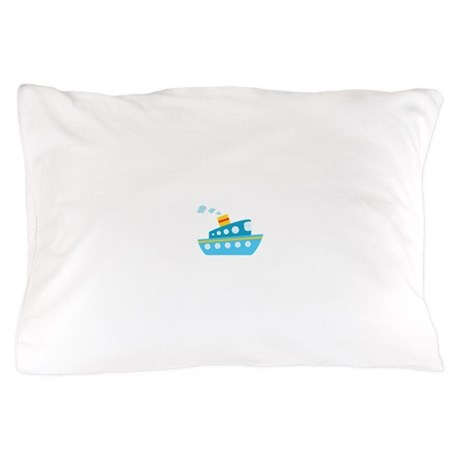 Blue Red and Yellow Tug Boat Pillow Case