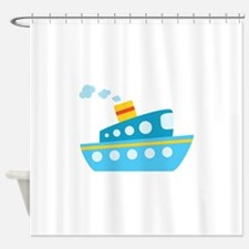 Blue Red and Yellow Tug Boat Shower Curtain