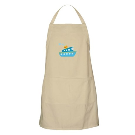 Blue Red and Yellow Tug Boat Apron