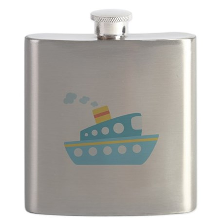 Blue Red and Yellow Tug Boat Flask