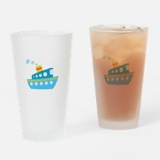 Blue Red and Yellow Tug Boat Drinking Glass