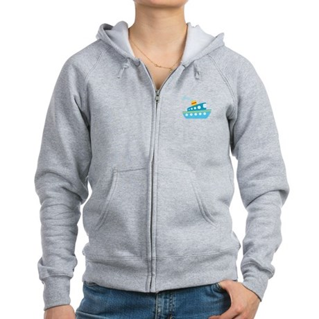 Blue Red and Yellow Tug Boat Women's Zip Hoodie
