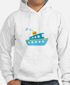 Blue Red and Yellow Tug Boat Hoodie