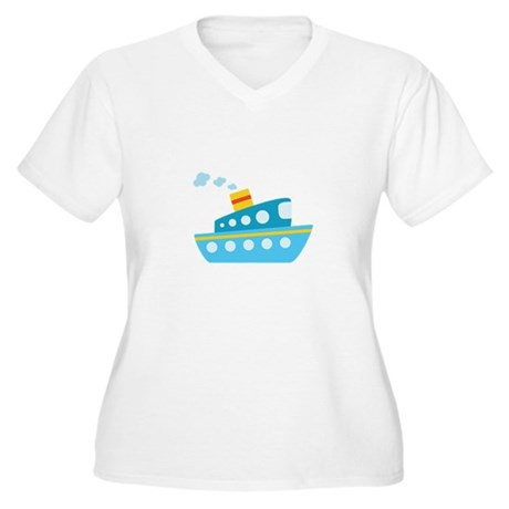 Blue Red and Yellow Tug Boat Women's Plus Size V-N