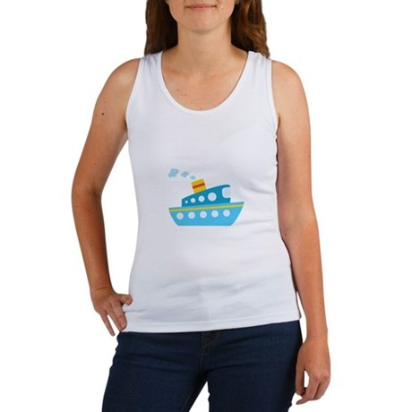 Blue Red and Yellow Tug Boat Women's Tank Top