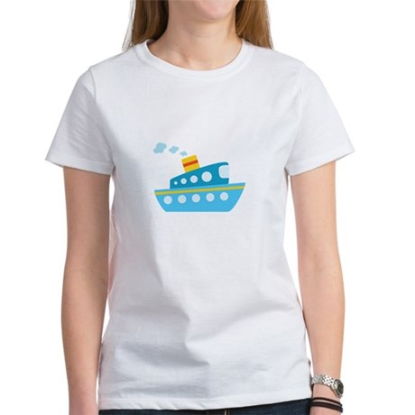 Blue Red and Yellow Tug Boat Women's T-Shirt