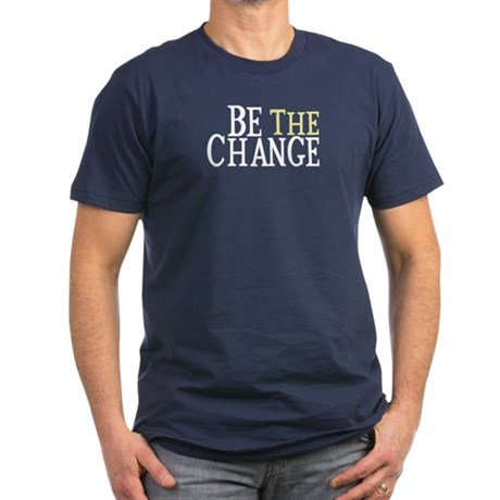 Be The Change Men's Fitted T-Shirt (dark)